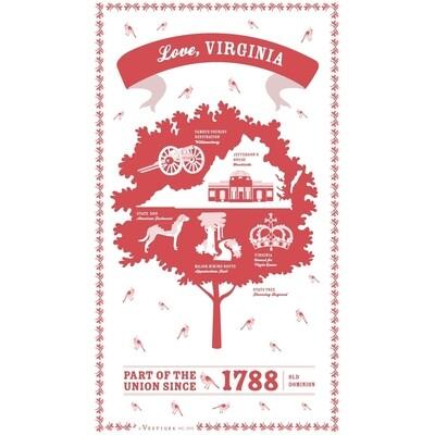 Red Virginia Tea Towel