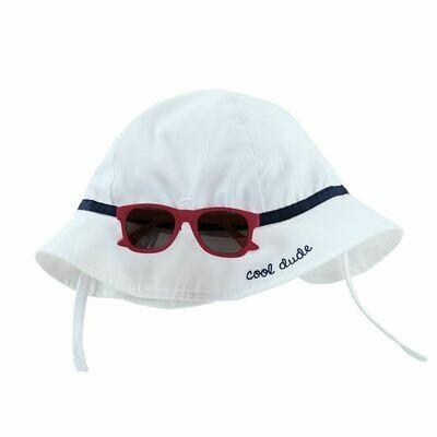 White Sun Hat and Glasses Set