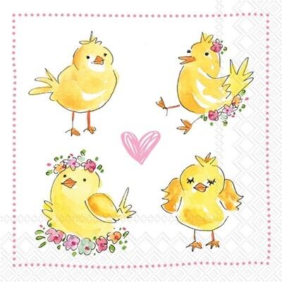 Cocktail Napkin - Easter Chicks