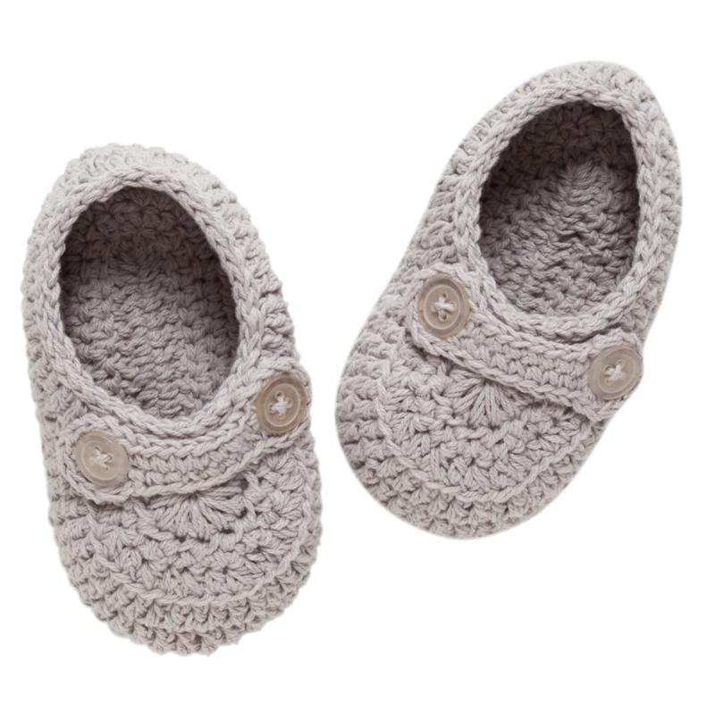 Baby Knit Booties - Granite