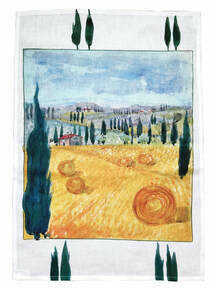 Linen Kitchen Towel - Italian Landscape