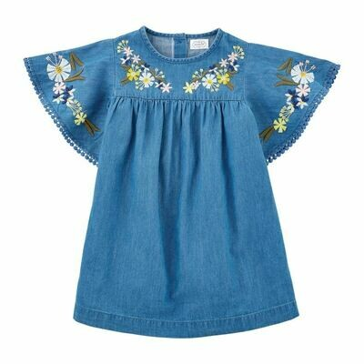 Toddler Embroidered Chambray Dress