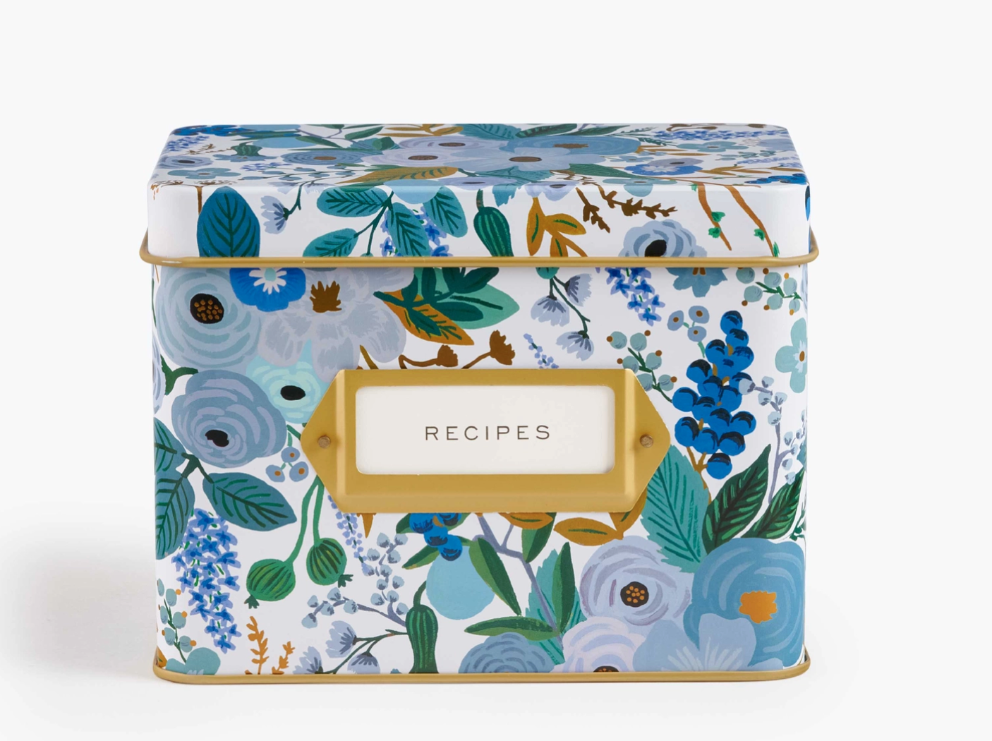 Rifle Paper Garden Party Blue Tin Recipe Box