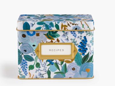 Rifle Paper Garden Party Blue Tin Recipe Box