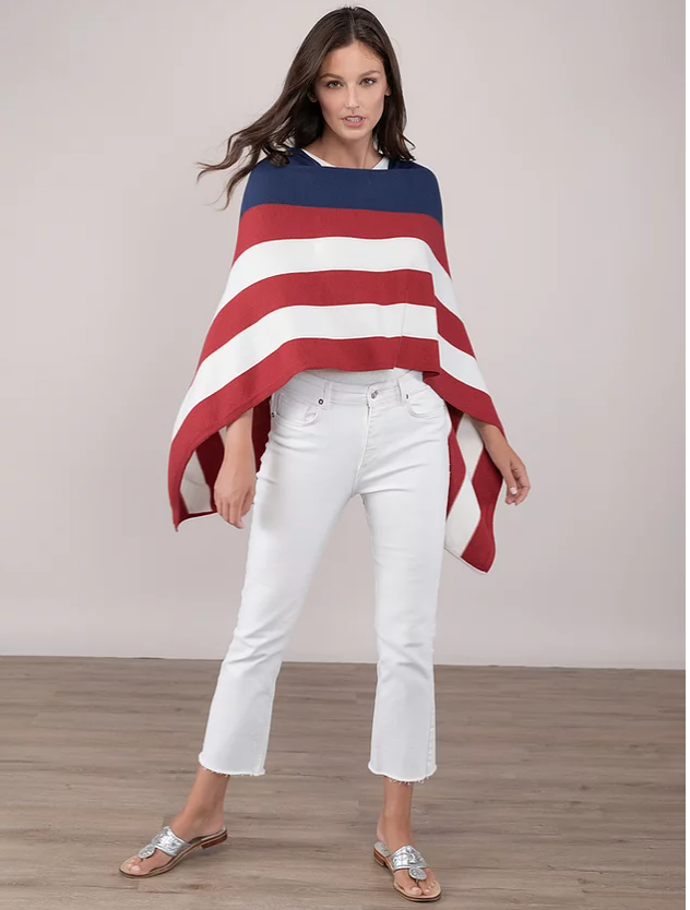 Cotton/Cashmere Poncho - Americana