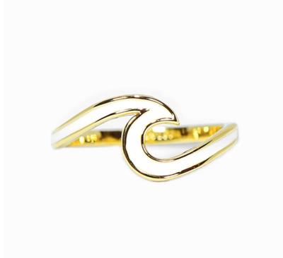 Pura Vida Enameled Wave Ring Gold White