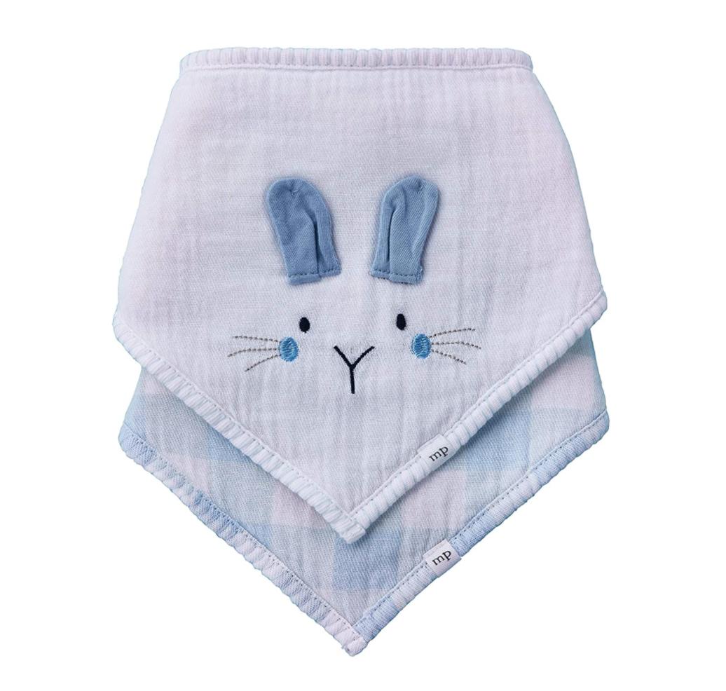 Blue Bunny Gingham Bib