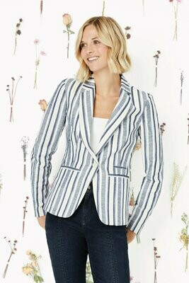 Ecru Indigo Stripe Jacket