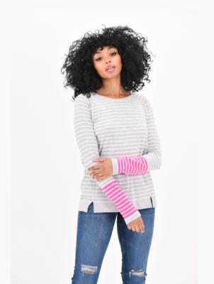 Brodie Striped Raglan Silver/Pink