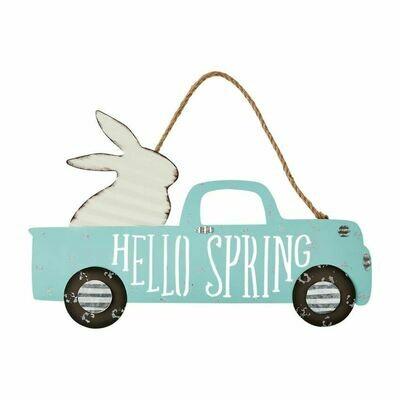 Bunny Truck Tin Door Hanger