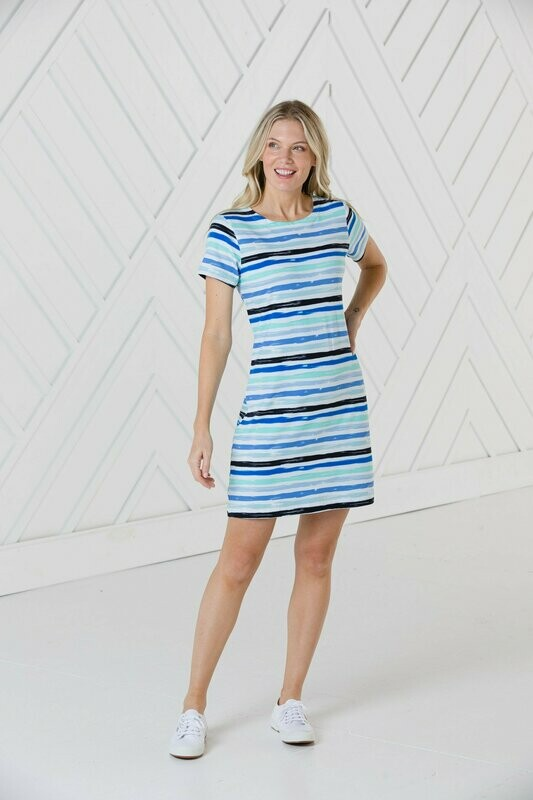 Sail to Sable Blue Multi Stripe Dress