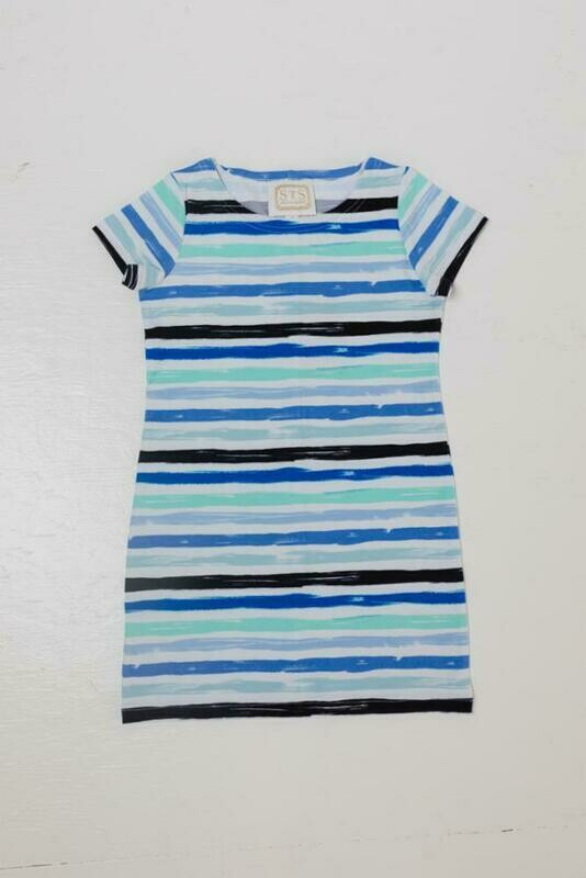 Sail to Sable Blue Multi Stripe Toddler Dress