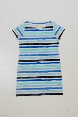 Sail to Sable Blue Multi Stripe Toddler Dress