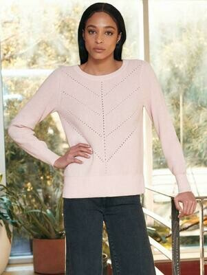 White + Warren Cotton Chevron Pullover Tea Rose