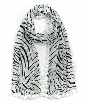 Echo Zebra Tassel Scarf