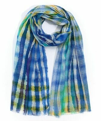 Echo Blue/Yellow Tie Dye Stripe Scarf