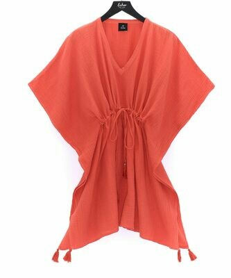 Echo Double Gauze Tassle Cover Up - Coral
