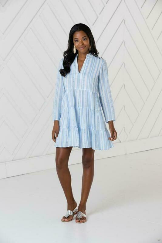 Sail to Sable White Blue Stripe L/S Tunic Dress