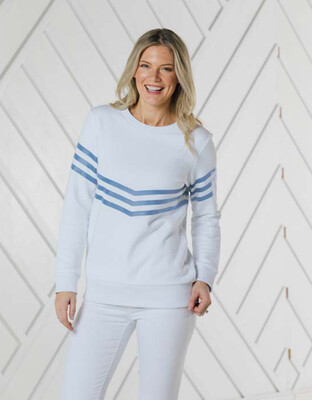 Sail to Sable White Blue Stripe Sweatshirt