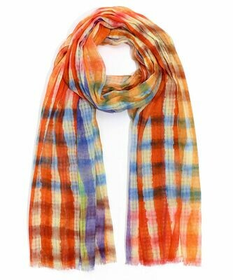Echo Orange/Purple Tie Dye Stripe Scarf