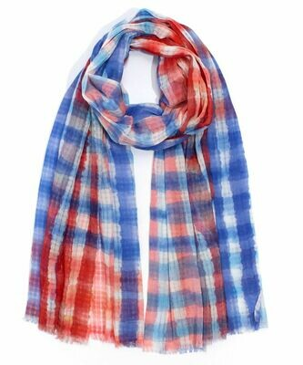 Echo Red/Blue Tie Dye Stripe Scarf