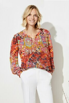 Ecru Wright Top with Gather Detail - Tie Dye