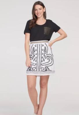 Tribal White Black Emb. Skirt