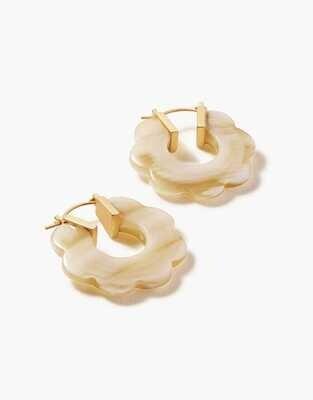 Spartina Mod Daisy Hoop Earrings Cream