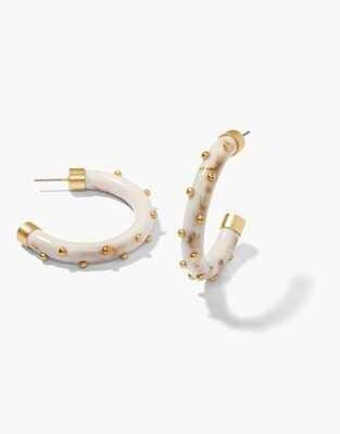 Spartina Harbor Resin Hoop Earrings Cream