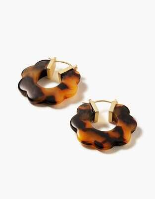 Spartina Mod Daisy Hoop Earrings Tortoise