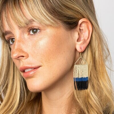 Ink + Alloy Beaded Triangle Earrings