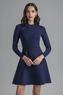 Shoshanna Edison Knit Dress - Navy