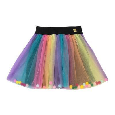 Deux Par Deux Rainbow Tulle Pompon Skirt