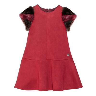 Deux Par Deux Fur Sleeve Dress