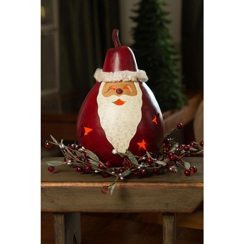 Red Santa Medium Lit Hand-Crafted Gourd Luminary