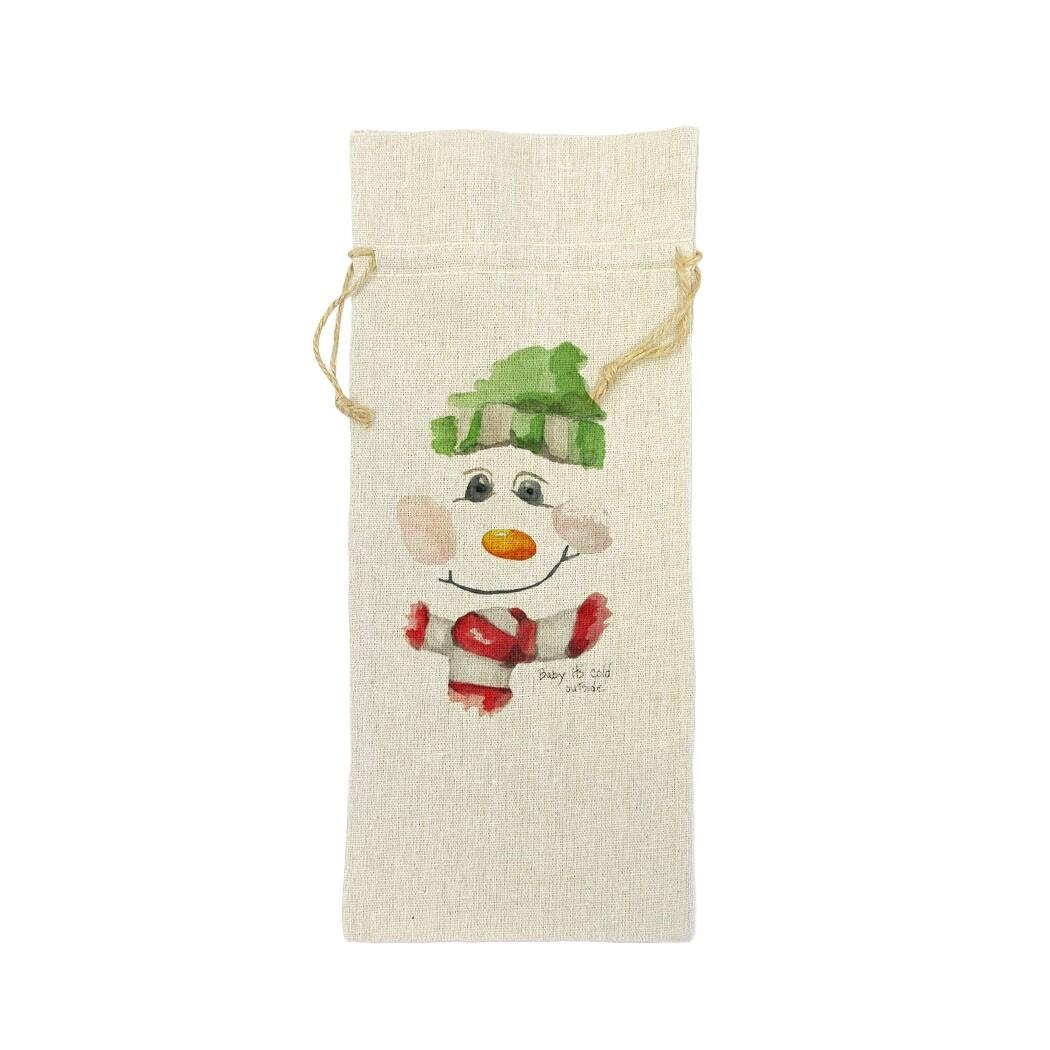 Snowman Face Wine Bag