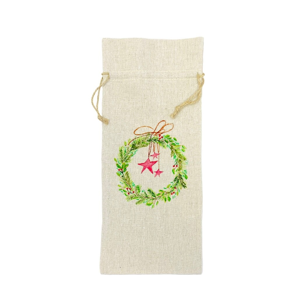 Wreath With Stars Wine Bag