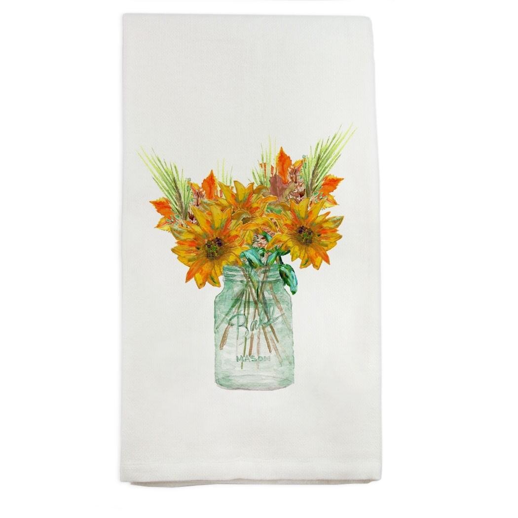 Mason Jar Fall Flowers Dishtowel