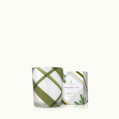 Thymes Frasier Fir Frosted Plaid Votive