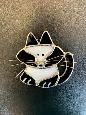 Glass Black And White Cat Ornament by Julie Cooper