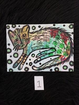 Cat Monoprint: Lounging Cat - Kym Moreland-Garnett