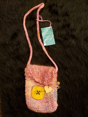 Cell phone satchel with giant wooden button-Knitted Bags by Hazel