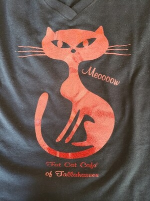 Red Glitter Cat Shirt-Fitted Cut