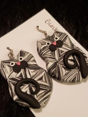 Black and White Kitty Earrings
