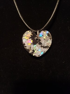 Cat Silver Confetti Resin Charm on Rope