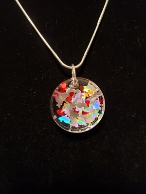 Cat Silver Confetti with Hearts Resin Small Disc Charm on Rope