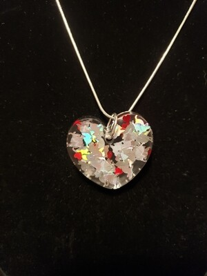 Cat Silver with Hearts Confetti Resin Charm on Chain