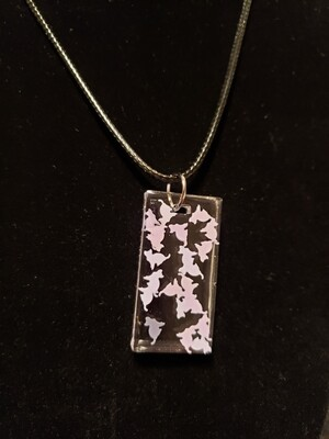 Cat Purple Confetti Resin Rectangle Charm on Rope
