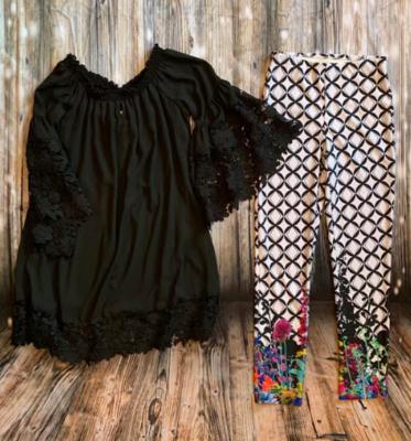 Joseph Ribkoff Black Lace sleeve dress style #181242