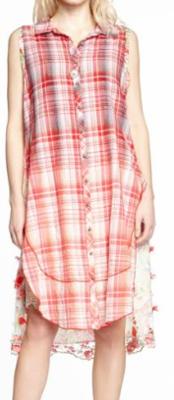 Aratta ombre red plaid tunic